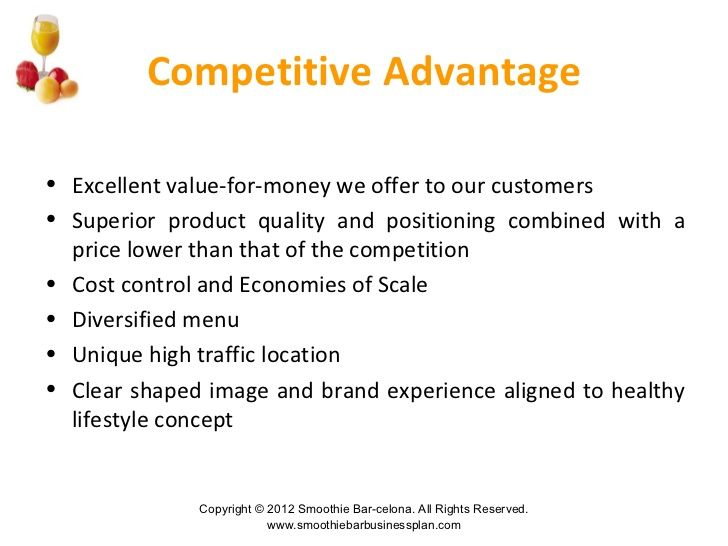 competitive advantage business plan examples