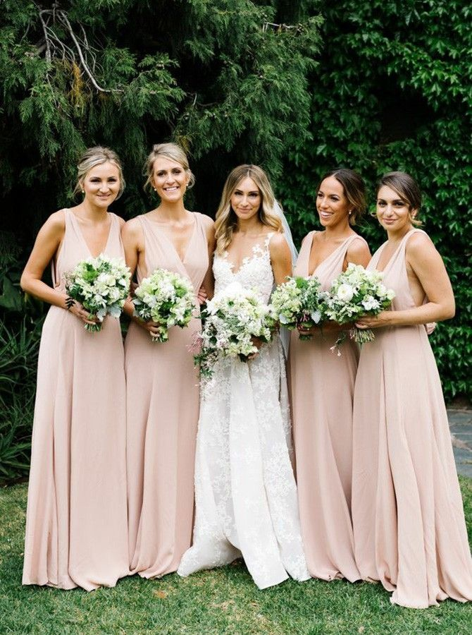 A Line Deep V Neck Sweep Train Pearl Pink Chiffon Bridesmaid Dress Elegant Bridesmaid Dresses Blush Bridesmaid Dresses Long Pink Chiffon Bridesmaid Dress