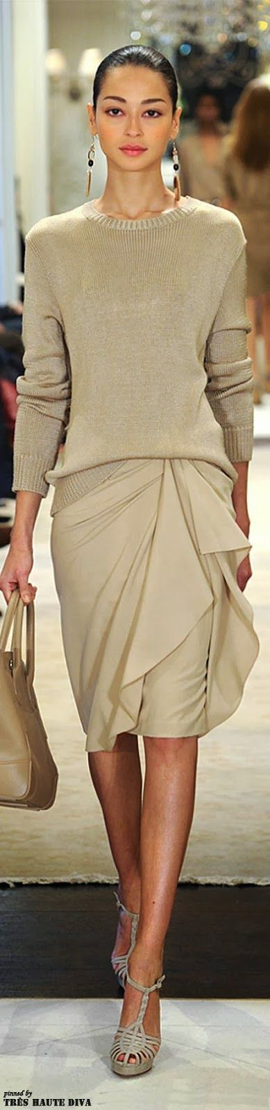 As far as I can see, is this beige color too yellow for her skin as wel as her foundation. Taupe will suit her better. Ralph Lauren Pre-Fall 2014