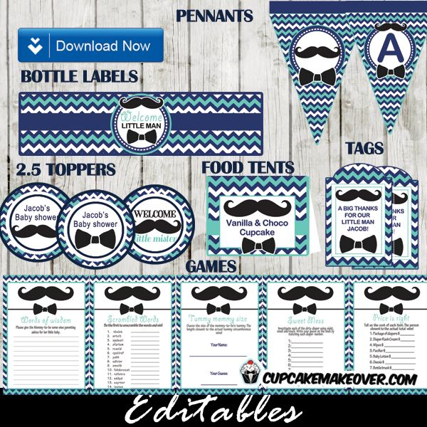 Chevron Blue Mustache And Bow Tie Baby Shower Party Package   Instant  Download
