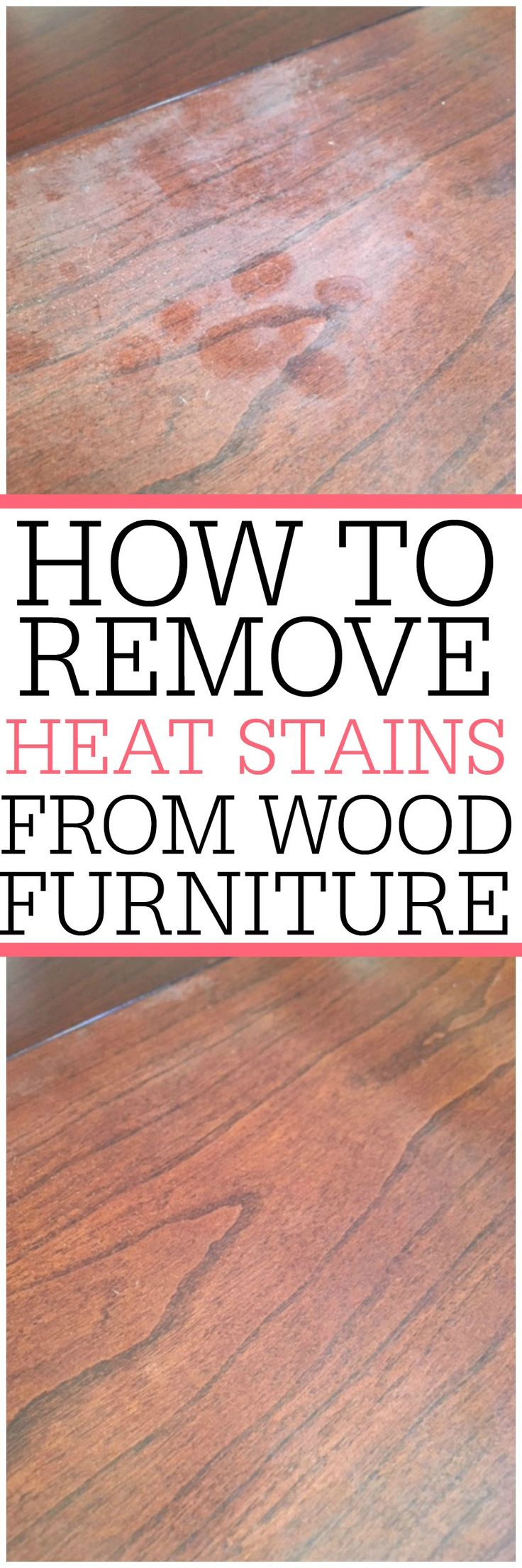 Heat stains on wood furniture? Check out an easy way on how to remove heat