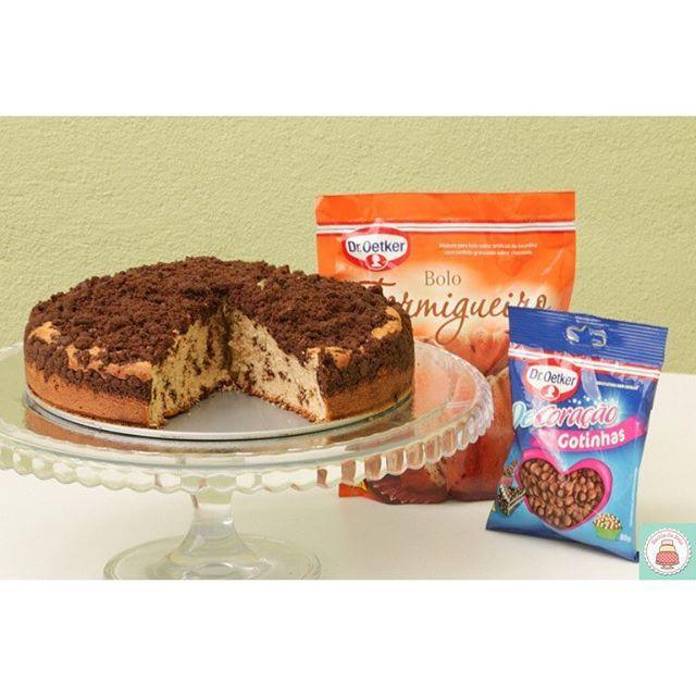 Bolo formigueiro com crosta de chocolate é delicioso e fácil de preparar!! Receita completa na escoladebolo.com.br #aquivoceaprende #aprendaonline #droetker #receitadebolo