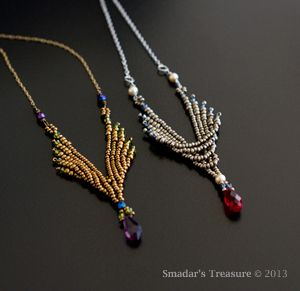 Smadar's Treasure: Angle Wings Pendant  two sided pendant, made with seed beads, crystal bicones, drop bead and fire polished beads