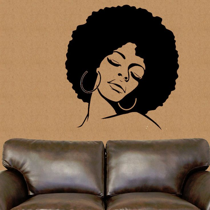 African American wall decal, African wall decor, African vinyl sticker, Afro  hair lady wall sticker, Sexy wall art silhouette; salon art