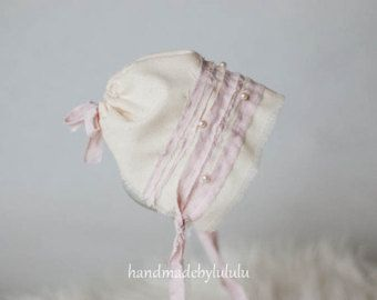 baby bonnet simply from cream and soft pink by handmadebylululu