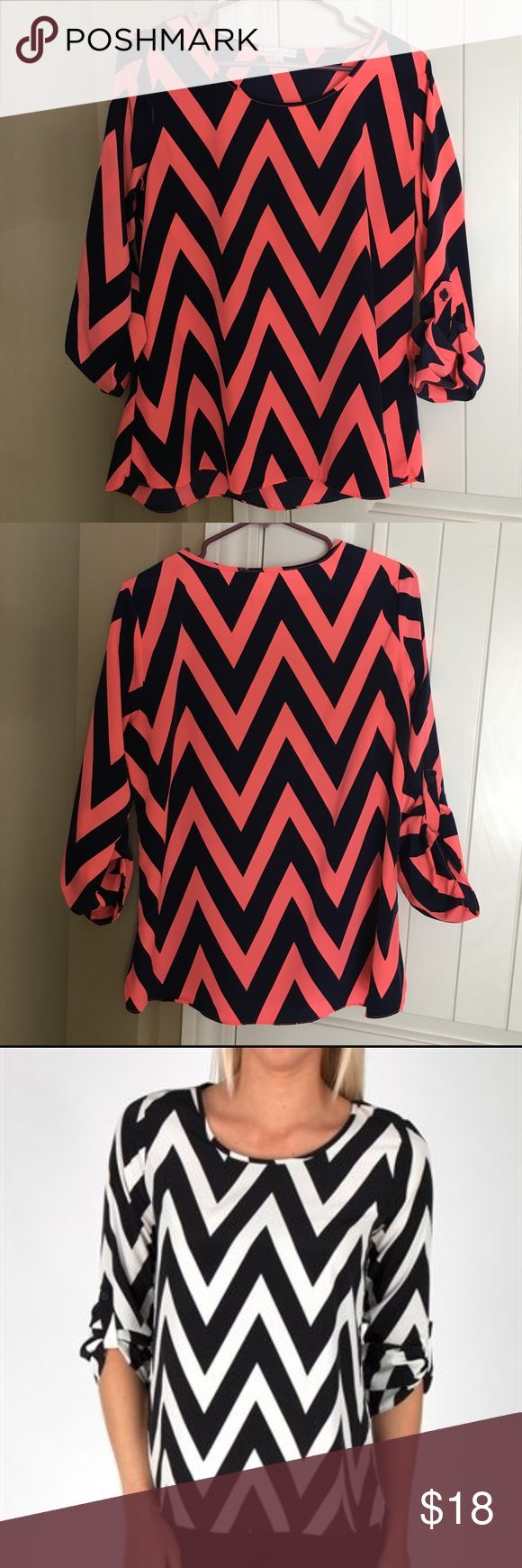 Chevron Top Coral and dark navy chevron top. Loose fitting, sleeves have a button to roll them up. Very comfortable. Gently worn. Bought from Von Maur. 100% Polyester. Moa Moa Tops