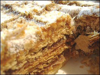 Torta de Mil Hojas.   Manjar is can be found at your grocer by the name Dulce de Leche.