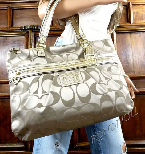 With a checkbook wallet to match. $180 NWT COACH RARE LARGE HOT POPPY KHAKI BROWN SIGNATURE GOLD LEATHER TOTE BAG PURSE