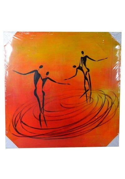 Cuadro moderno Amantes Dancing. Bastidor fabricado en madera. Fondo color naranja y amarillo. Medidas 80 x 80 cm.  Colócalo en el pasillo, subida de escalera, salón, sala de estar, comercio... Envío gratis en 24h.