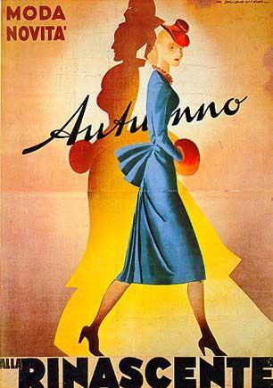 """M<3 Marcello Dudovich, 1950 """"Alla Rinascente, autunno, moda e novità"""" - Stampa F.lli Pirovano, Milano Provenienza: Raccolta Rinascente, Milano"""
