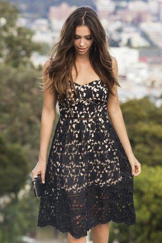 Chloe Black Lace Midi Dress