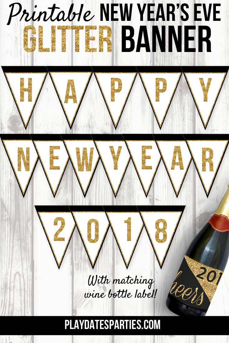 free printable new year banner and wine bottle label recipe holiday favorites pinterest printables new year banner and party