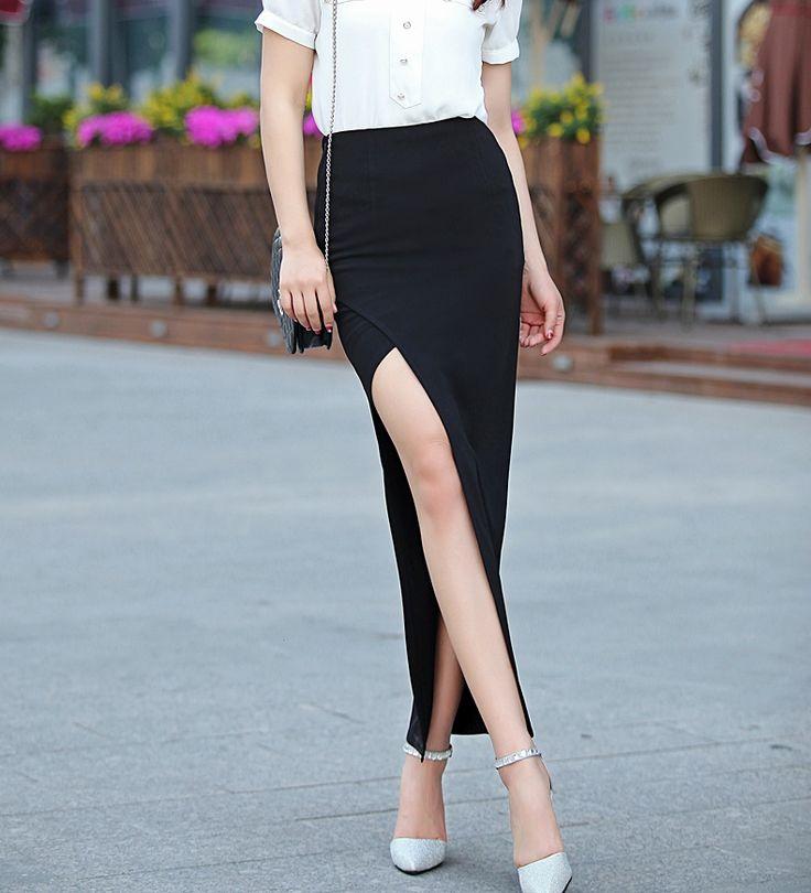 包邮春夏新品高腰包臀裙性感显瘦开衩一步长裙时尚包裙女装半身裙-淘宝网