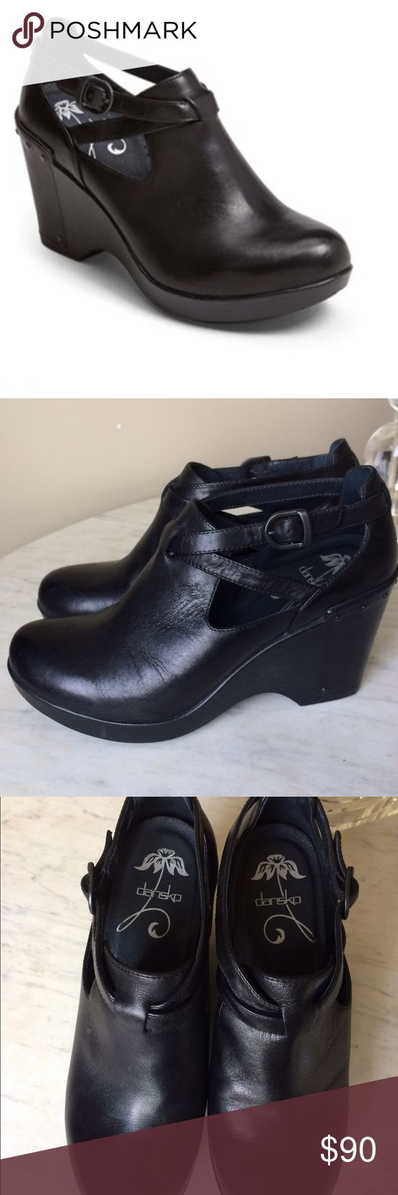 """Dansko Franka Playform Wedge Hand-antiqued leather enhances the modern silhouette of a round-toe pump balanced by a curvy platform heel. 3 1/2"""" heel; 1"""" platform. Adjustable strap with buckle closure. Leather upper and lining/polyurethane sole. Dansko Shoes Ankle Boots & Booties"""