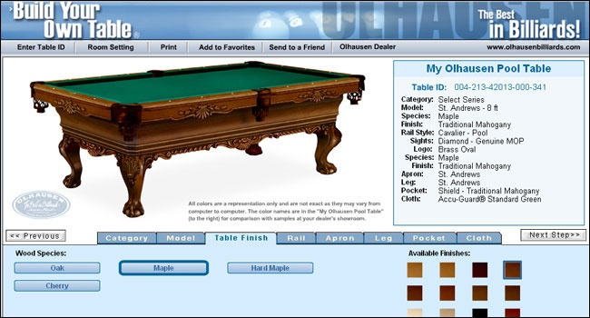 Can you believe it?  Completely design your own top quality pool table at Recreation World!