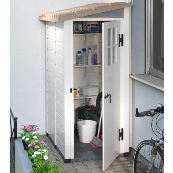 Petit abri de jardin résine PVC adossable 1 m² Ep. 22 mm Evo 100