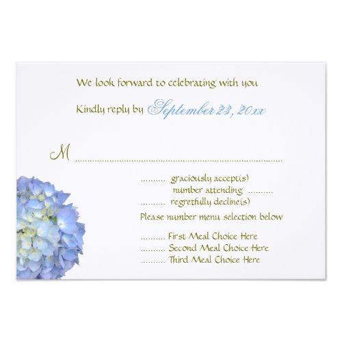 Blue Wedding Menu Blue Moon Menu Selection Wedding Reply Card