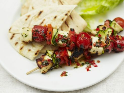 Aquias: Vegetable and haloumi kebabs.I made this. I substitute the cherry tomatoes with mushroom as I'm not mad about roasted tomatoes. Champion vegetarian braai chow!