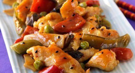 Blancs de poulet aux poivronsVoir la recette des Blancs de poulet aux poivrons >>