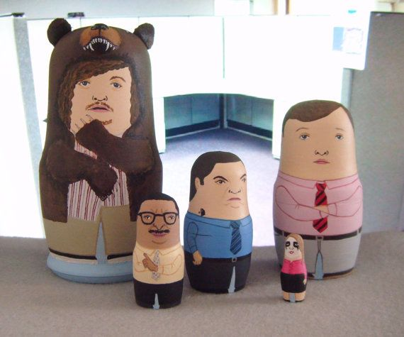 Mini Workaholics Matryoshka Dolls. Love that Blake's looking STRAIGHT GRIZZLY!