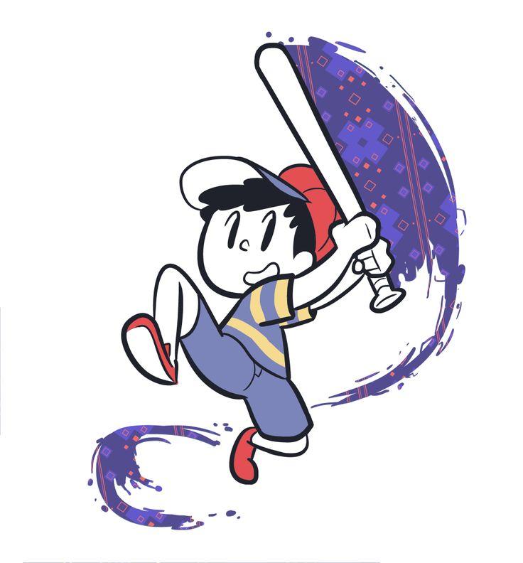 Ness holding and swinging his baseball bat.