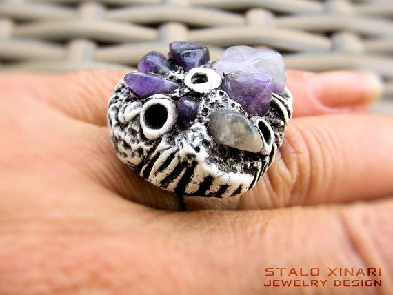 Amethyst natural stone handmade amulet clay ring on adjustable silver color ring base, stone perfect for Spiritual awareness and protection by SXtheArtConcept