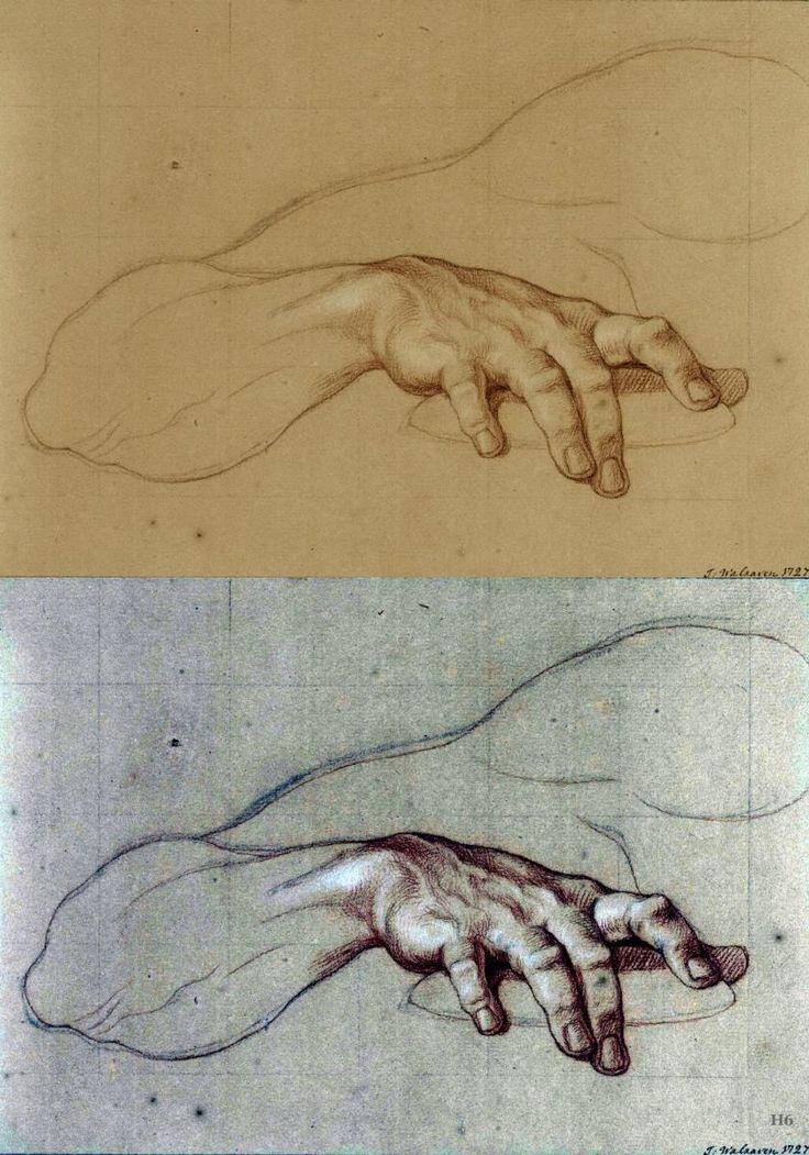 Study of a Hand. 1727.Isaac Walraven. Dutch 1686-1765. chalk on paper.bottom photo digitally enhanced by Hadrian6.