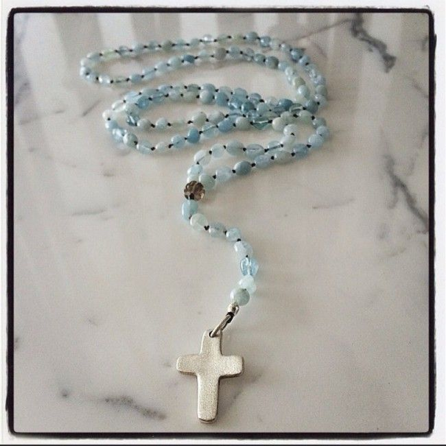 Rosary from aquamarine with cross 74€