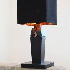 Black symmetric table lamp with canvas in golden inside.  // Believe - Sessak