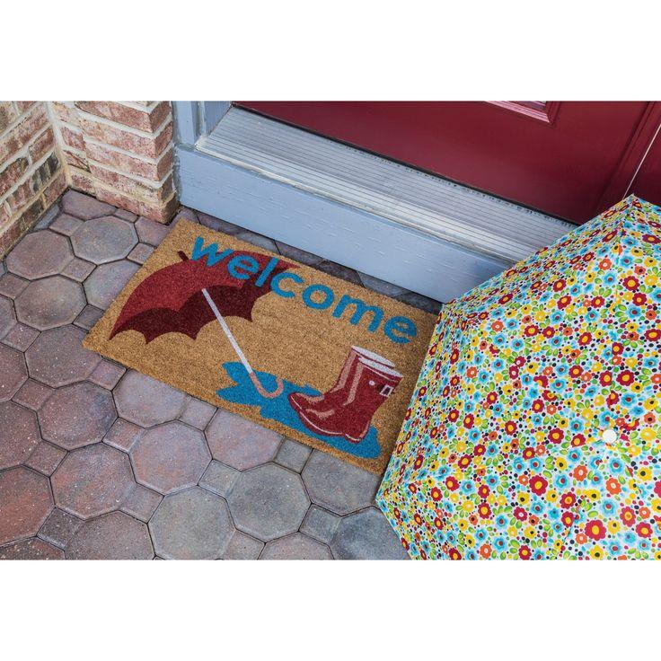 Boots and Umbrella Nonslip Multicolored Coir Doormat, Multi