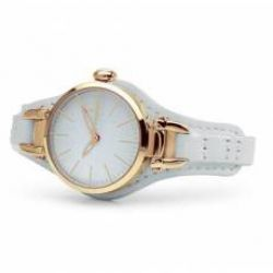 Hoops Jolie Rose Gold White Leather Strap 2517LG02