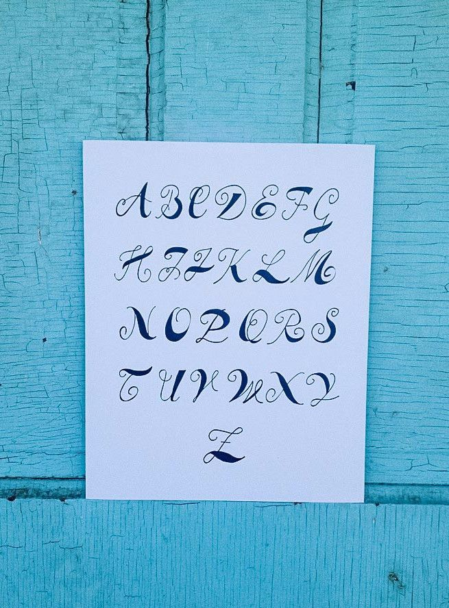 Calligraphy Alphabet Hand Lettered Fine Art Print Fonts