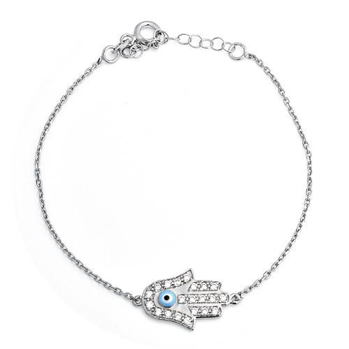 Sterling Silver CZ Diamond Evil Eye Hamsa Bracelet 6.5in