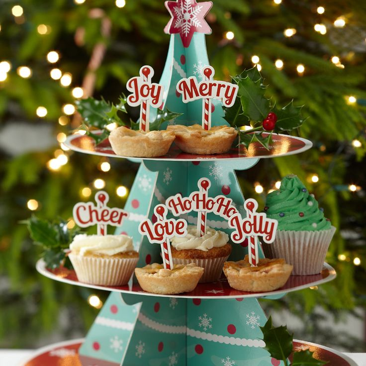 Christmas Cheer Vintage Christmas Cupcake Toppers from Pink Frosting Christmas Shop