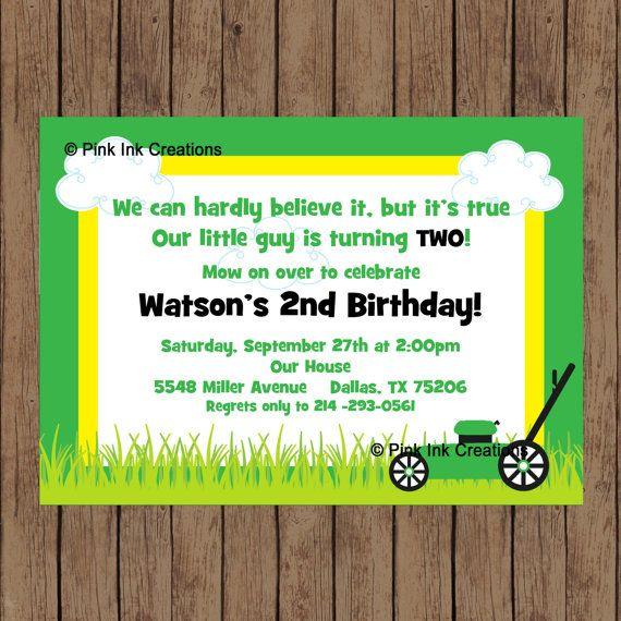 Lawn Mower Birthday Invitation / Lawn Mower by PinkInkCreation