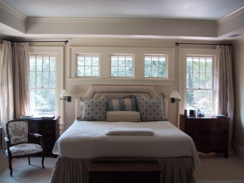 symmetry // windows // curtain rods // blue beadboard ceiling: Bedrooms Window, Window Ideas, Bedrooms Design, Traditional Bedrooms, Master Bedrooms, Transom Window, Beds Design, Bedrooms Decor, Bedrooms Ideas