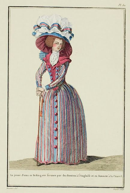 The young Zuma in a Redingote closed with Buttons à l'Anglaise and in a Cap à la…