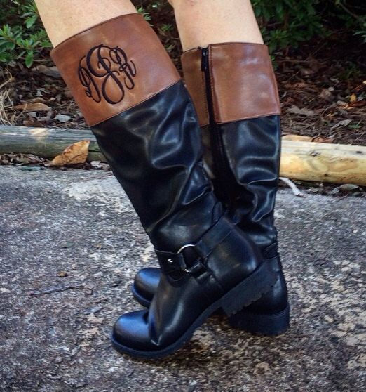 Hey, I found this really awesome Etsy listing at https://www.etsy.com/listing/249315333/wide-calf-monogrammed-boots-two-toned