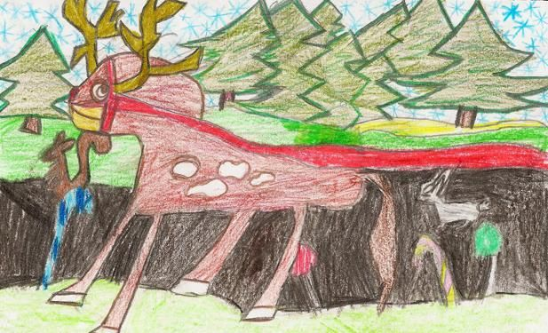 """Running Reindeer was created by a Grade 3 student. This artwork was turned into a Christmas eCard given as appreciation to the patrons who donated to the typhoon Haiyan survivors. The donations will be used to relocate and rebuild homes facilitated by a Canadian Charity Gawad Kalinga Canada (means """"to give care"""")."""
