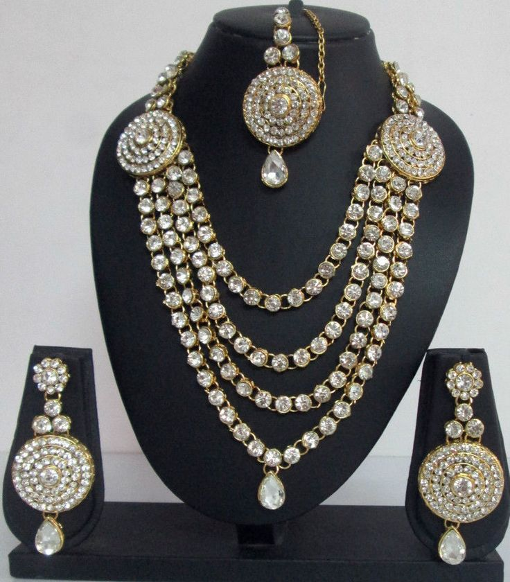 Indian Fashion Jewelry Bollywood Bridal CZ Pearl Crystal Necklace Earrings Sets  | eBay