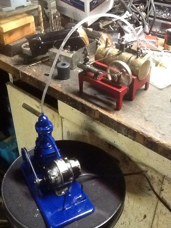 Using antique air brush compressor to run the Weeden steam