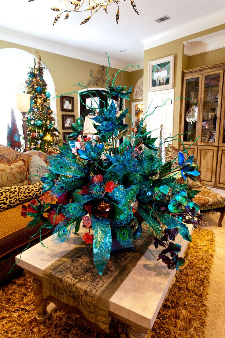 53 Best Peacock Christmas Images On Pinterest Blue Christmas Peacock Christmas Tree And