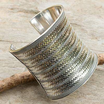 Sterling silver cuff bracelet, 'Royal Princess' - Artisan Crafted Sterling Silver Cuff Bracelet #silverbracelet
