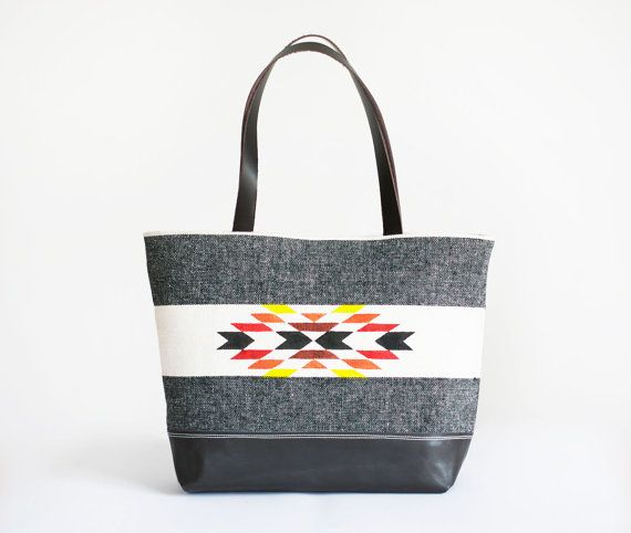 Light Gray Leather TOTE Bag / native pattern by lepetitchatrobin