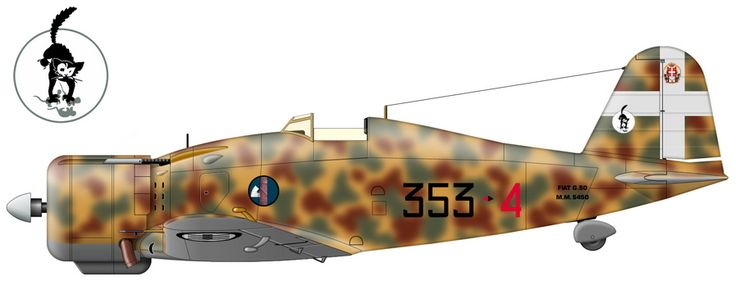 Fiat G.50 (serial number MM5450) from the 353rd Squadron of the 20th group as of October 1940.