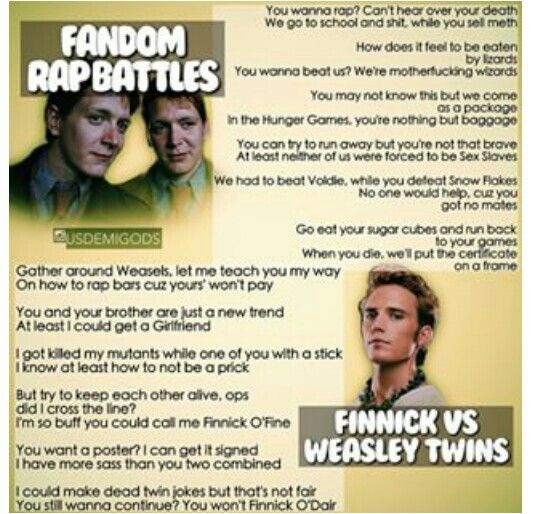 Fandom Rap Battle: Weasley Twins vs Finnick. Who won?