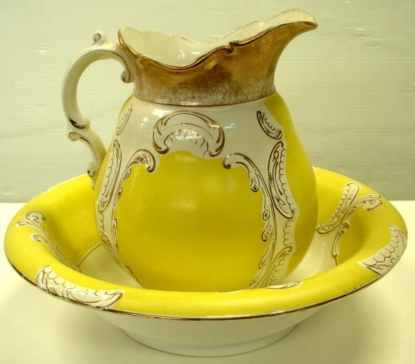 Yellow Victorian Bowl And Pitcher - Paris Pattern