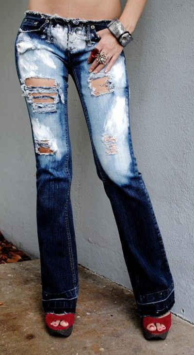 Painted jeans for women. Ripped jeans for women.