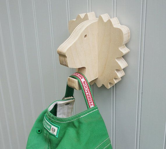 Lion wall hook: playful plywood lion head wall hanger for coats, towels, bags, hats, & backpacks - great for a safari theme nursery