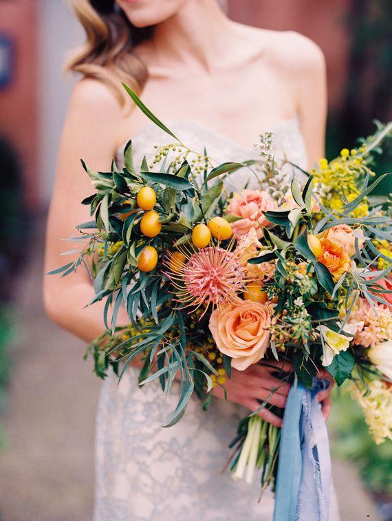 orange pink blue wedding inspiration | undone bouquet | Photo by Shane and Lauren Photography |